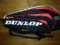 Dunlop badminton bag backpack fully insulated to hold multiple rackets & shuttles & water bottle