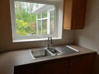 One and a half bowl linen stainless steel sink with tap
