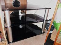 TV STAND SHELF UNIT BLACK GLASS AND CHROME medium size 32-42 inch tv