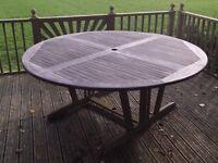 Large Circular Garden/Patio Table With Granite Lazy Susan