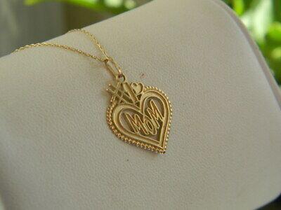 14k Gold #1 Mom Heart Pendant Necklace 1 Mom Heart Pendant