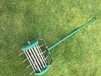 Heavy duty rotary lawn aerator galvanised steel spikes
