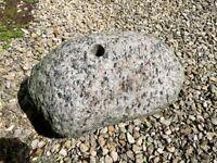 Drilled granite garden water feature