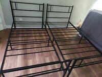 2 x black single bed frames