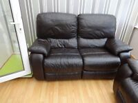 Brown leather reclining 2 seater sofa (x2)