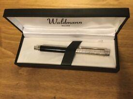 Original Waldmann Sterling Silver and Black Fountain Pen for sale.