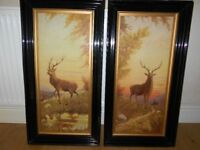 PAIR OF STAG PICTURES VERY OLD