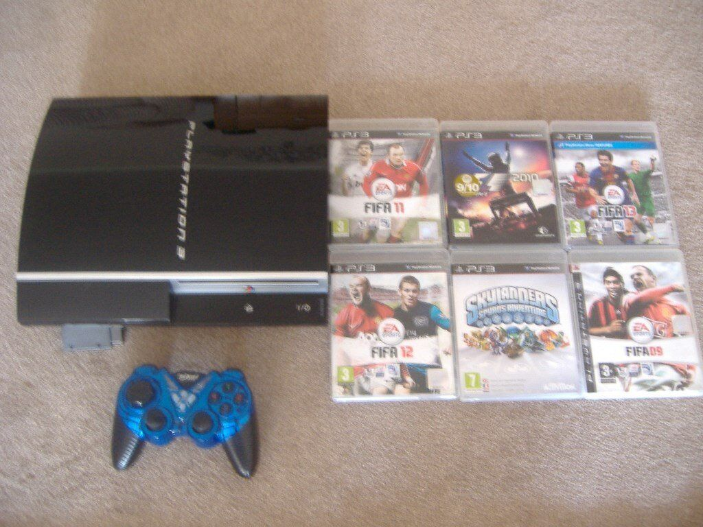 sony playstation 3 80gb ,6 games, wirelless controller , leads plays 3d blue ray