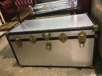 Large Silver Trunk Chest - Storage box - Travel Trunk - Blanket Box