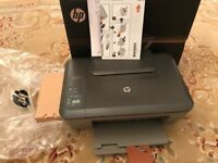 HP colour printer, scan, print and copy, with ink cartridges and instructions, box