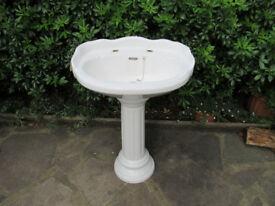 used but good bathroom sink with column pedestal