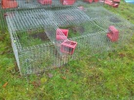 light metal cage / run with feed hopper and hatch
