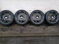 """Genuine Refurbished Audi A3, A4, A6 RS4 style alloy wheels 18""""with v. good tyres"""