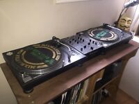2 Technics SL1210 M3D turntables and Pioneer mixer DJM400 with DJ stand/table