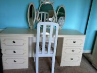 ART DECO STYLE DRESSING TABLE & CHAIR.