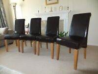 Four scroll back dining chairs in need of recovering/renovation - price is for all 4