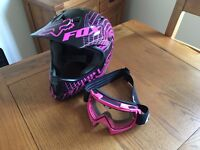 Fox Rampage Downhill bike helmet. Black/Pink (Medium) With THOR Goggles