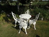 CAST ALUMINIUM GARDEN SET -- TABLE AND 4 CHAIRS ( CROWN TOPS ) -- VICTORIAN STYLE --