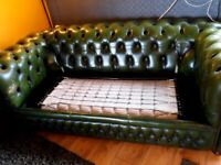 Antique green leather 3 seater sofa bed
