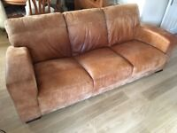 3 seater Leather Sofa in saddle leather