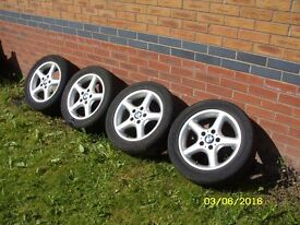 "BMW 1 3 SERIES E36 E46 E82 E83 E87 E88 E90 E91 Z3 Z4 16"" ALLOY WHEELS & TYRES - 5 SPOKE"