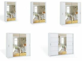 call now-BONITO SLIDING MIRRROR DOORS WARDROBE IN 5 SIZES & IN WHITE COLOR-Opt chest of drawers