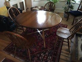 Vintage Ercol dining table & four chairs (Fleur de Lys design).