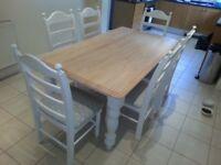 Stunning Bespoke Shabby Chic Table Set 6ft x 3ft - grey polkadot pads - Newly Refurbished