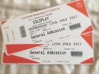 Coldplay tickets cardiff 12 July 2017 X 2