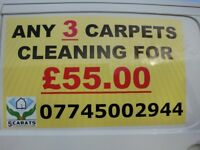 3 Carpets Cleaning for the only £55 using of INDUSTRIAL EQUIPMENT !