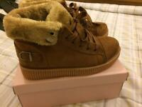 Brand new in box, camel trainer type boot