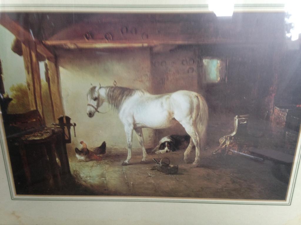 Horse print in green frame