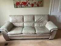 Leather 3 piece suite with footstool
