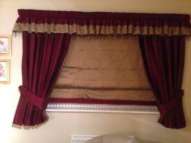 Beatiful bespoke 100% silk curtains, Blind, pelmet & tie backs