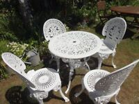 CAST ALUMINIUM GARDEN SET --TABLE AND 4 CHAIRS --CLASSIC VICTORIAN STYLE --