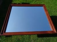extra large mahogany stained - beveled edge pine mirror