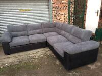 Large grey & black corner sofa