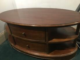 Vintage Varnished Oak Coffee Table w/ 2 Large Draws