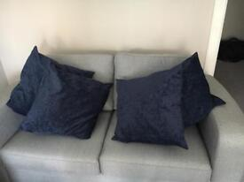 4 x large navy blue cushions covers and inners
