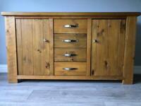 Next Hartford solid oak furniture set (sideboard, bookcase, coffee table, mirror)