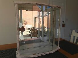 Distinctive Pair of shabby chic wall display cabinets