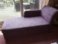 Beautiful lialic chaise with advantage of metal action sofa bed within - BARGAIN St Andrews, Fife
