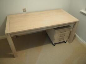 white solid oak office furniture set desk drawers shelving