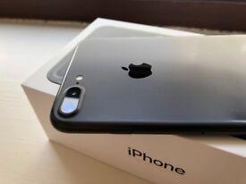 Fantastic iPhone 7 Plus, 128GB Matte Black model, boxed + brand new Apple accessories. UNLOCKED.