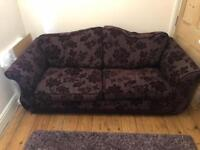 Purple 3 seat sofa bed and arm chair - open to offers