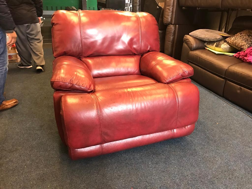 Harvey's Guvnor red real leather electric power Recliner armchair single 1 seater cherry Rubin