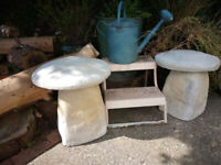 Pair of Decorative Garden Staddle Stones