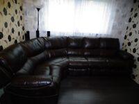 Large leather recliner corner sofa