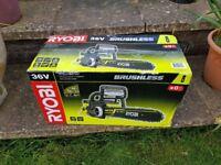 Ryobi 36v battery chain saw. Brand new