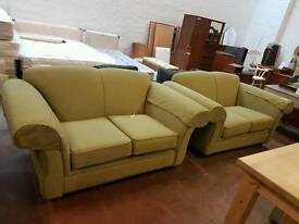 Green winged fabric twin 2 seater sofa suite